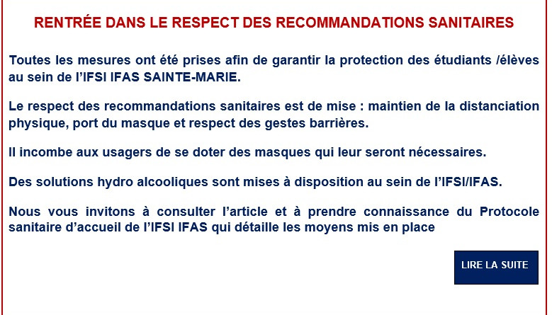 RENTREE 2020 2021 recommandations sanitaires
